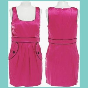 Vintage 90's Style Pink Stretch Pleated Dress